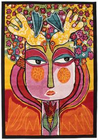 She Has Flowers In Her Hair Teppe 140X200 Moderne Mørk Brun/Orange ( Tyrkia)