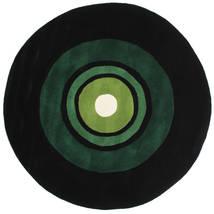 Schallplatte Handtufted Teppe Ø 150 Moderne Rundt Mørk Grønn (Ull, India)