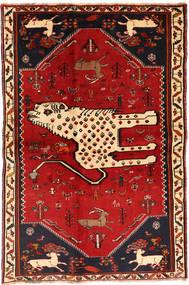 Ghashghai Teppe 134X211 Ekte Orientalsk Håndknyttet Mørk Rød/Rust (Ull, Persia/Iran)