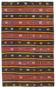 Kelim Halvt Antikke Tyrkiske Teppe 195X320 Ekte Orientalsk Håndvevd Mørk Brun/Rød (Ull, Tyrkia)