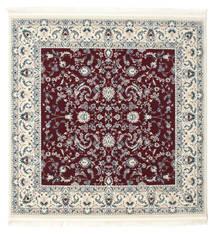 Nain Florentine - Mørk Rød Teppe 150X150 Orientalsk Kvadratisk Beige/Lys Grå ( Tyrkia)