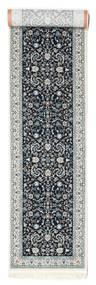 Nain Florentine - Mørk Blå Teppe 80X350 Orientalsk Teppeløpere Lys Grå/Mørk Grå ( Tyrkia)
