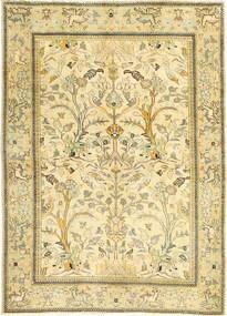 Tabriz Patina Teppe 100X140 Ekte Orientalsk Håndknyttet Beige/Mørk Beige/Lysgrønn (Ull, Persia/Iran)