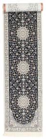 Nain Emilia - Mørk Blå Teppe 80X400 Orientalsk Teppeløpere Lys Grå/Svart ( Tyrkia)
