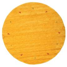 Gabbeh Loom Two Lines - Gul Teppe Ø 200 Moderne Rundt Gul/Orange (Ull, India)