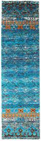 Quito - Turquoise Teppe 80X300 Ekte Moderne Håndknyttet Teppeløpere Turkis Blå/Blå (Silke, India)