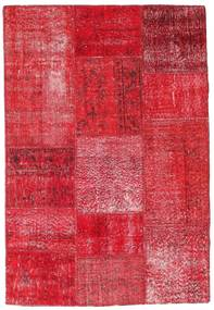 Patchwork Teppe 121X178 Ekte Moderne Håndknyttet Rød/Rust/Rosa (Ull, Tyrkia)