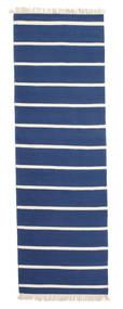 Dorri Stripe - Mørk Blå Teppe 80X250 Ekte Moderne Håndvevd Teppeløpere Blå/Beige (Ull, India)