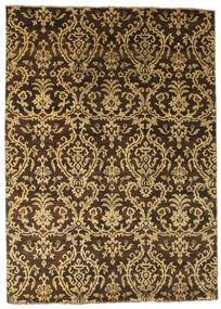 Damask Teppe 172X240 Ekte Moderne Håndknyttet Mørk Brun/Lysbrun ( India)