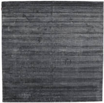 Bamboo Silke Loom - Charcoal Teppe 250X250 Moderne Kvadratisk Lilla/Mørk Grå/Svart Stort ( India)