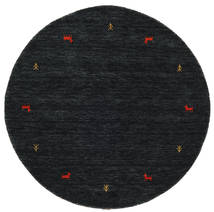 Gabbeh Loom Two Lines - Svart/Grå Teppe Ø 150 Moderne Rundt Svart (Ull, India)