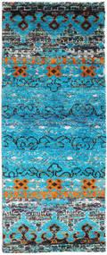 Quito - Turquoise Teppe 80X200 Ekte Moderne Håndknyttet Teppeløpere Turkis Blå/Lys Grå (Silke, India)
