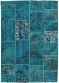 Patchwork Teppe 159X231 Ekte Moderne Håndknyttet Mørk Turkis/Mørk Blå (Ull, Tyrkia)