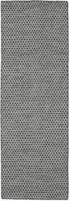 Kelim Honey Comb - Svart/Grå Teppe 80X240 Ekte Moderne Håndvevd Teppeløpere Lys Grå/Mørk Grå (Ull, India)