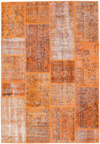 Patchwork Teppe 161X236 Ekte Moderne Håndknyttet Orange/Mørk Rød (Ull, Tyrkia)