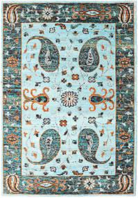 Vega Sari Silke - L.blue Teppe 210X290 Ekte Moderne Håndknyttet Turkis Blå/Lys Grå (Silke, India)
