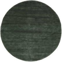 Handloom - Skogsgrønn Teppe Ø 150 Moderne Rundt Mørk Grønn/Mørk Grønn (Ull, India)