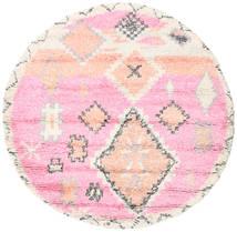 Odda - Pink Teppe Ø 200 Ekte Moderne Håndknyttet Rundt Lyserosa/Beige (Ull, India)