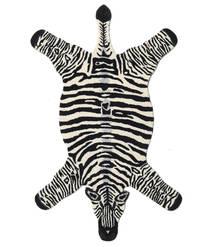 Zebra Teppe 100X155 Moderne Svart/Beige (Ull, India)