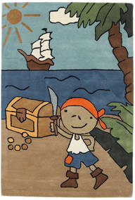 Pirate Handtufted Teppe 120X180 Moderne Lysbrun/Svart (Ull, India)