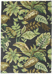 Jungel - Grønn/Svart Teppe 160X230 Moderne Mørk Grønn/Lysgrønn/Mørk Grå (Ull, India)