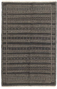 Kelim Teppe 98X152 Ekte Orientalsk Håndvevd Svart/Mørk Grå/Lys Grå (Ull, Persia/Iran)