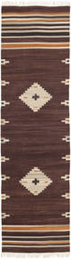 Tribal - Brun Teppe 80X300 Ekte Moderne Håndvevd Teppeløpere Mørk Brun/Beige (Ull, India)