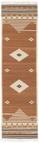 Tribal - Mustard Teppe 80X300 Ekte Moderne Håndvevd Teppeløpere Brun/Lysbrun/Beige (Ull, India)