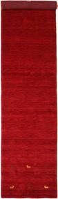 Gabbeh Loom Two Lines - Rød Teppe 80X350 Moderne Teppeløpere Rød/Mørk Rød (Ull, India)