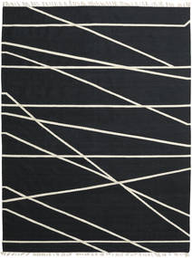Cross Lines - Svart/Off White Teppe 250X350 Ekte Moderne Håndvevd Svart Stort (Ull, India)