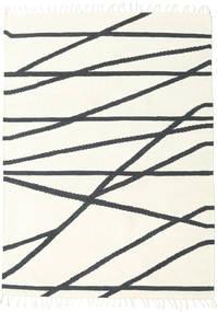 Cross Lines - Off White/Svart Teppe 160X230 Ekte Moderne Håndvevd Beige/Mørk Grå (Ull, India)