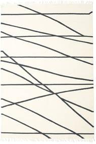 Cross Lines - Off White/Svart Teppe 200X300 Ekte Moderne Håndvevd Beige/Hvit/Creme (Ull, India)