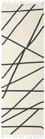 Cross Lines - Off White/Svart Teppe 80X350 Ekte Moderne Håndvevd Teppeløpere Beige/Mørk Grå (Ull, India)