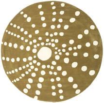 Sjöborre Handtufted - Oliven Teppe Ø 200 Moderne Rundt Olivengrønn/Beige (Ull, India)