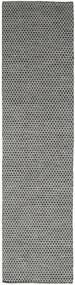 Kelim Honey Comb - Svart/Grå Teppe 80X440 Ekte Moderne Håndvevd Teppeløpere Mørk Grå/Lys Grå (Ull, India)