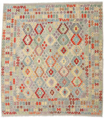 Kelim Afghan Old Style Teppe 263X291 Ekte Orientalsk Håndvevd Lys Grå/Mørk Beige Stort (Ull, Afghanistan)