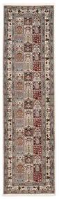 Moud Sherkat Farsh Teppe 80X300 Ekte Orientalsk Håndknyttet Teppeløpere Lys Grå/Beige (Ull/Silke, Persia/Iran)
