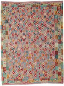 Kelim Afghan Old Style Teppe 260X340 Ekte Orientalsk Håndvevd Brun/Lys Grå Stort (Ull, Afghanistan)