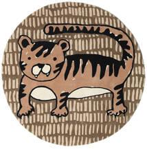 Cool Cat - Beige Teppe Ø 150 Moderne Rundt Brun/Lysbrun (Ull, India)