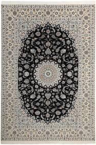 Nain 6La Teppe 210X311 Ekte Orientalsk Håndknyttet Lys Grå/Mørk Grå (Ull/Silke, Persia/Iran)