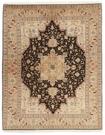 Tabriz 50 Raj Teppe 150X200 Ekte Orientalsk Håndvevd Mørk Beige/Lysbrun (Ull/Silke, Persia/Iran)