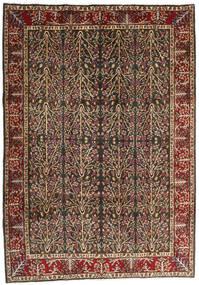 Kerman Teppe 202X285 Ekte Orientalsk Håndknyttet Lysbrun/Svart (Ull, Persia/Iran)