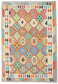 Kelim Afghan Old Style Teppe 174X249 Ekte Orientalsk Håndvevd Beige/Lys Grå (Ull, Afghanistan)