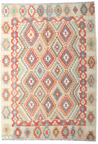 Kelim Afghan Old Style Teppe 202X287 Ekte Orientalsk Håndvevd Mørk Beige/Beige (Ull, Afghanistan)