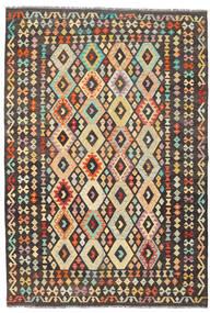 Kelim Afghan Old Style Teppe 175X255 Ekte Orientalsk Håndvevd Mørk Grå/Mørk Beige (Ull, Afghanistan)