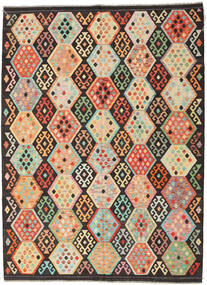 Kelim Afghan Old Style Teppe 216X291 Ekte Orientalsk Håndvevd Mørk Brun/Mørk Beige (Ull, Afghanistan)