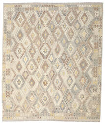 Kelim Afghan Old Style Teppe 257X301 Ekte Orientalsk Håndvevd Lys Grå/Beige Stort (Ull, Afghanistan)
