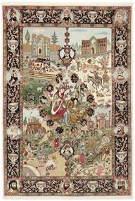 Tabriz 50 Raj Teppe 150X219 Ekte Orientalsk Håndknyttet Brun/Lysbrun (Ull/Silke, Persia/Iran)