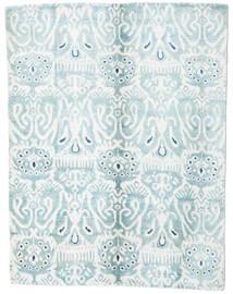 Sari Ren Silke Teppe 153X200 Ekte Moderne Håndknyttet Hvit/Creme/Lys Blå (Silke, India)