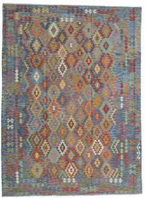 Kelim Afghan Old Style Teppe 256X351 Ekte Orientalsk Håndvevd Lys Grå/Lysbrun Stort (Ull, Afghanistan)